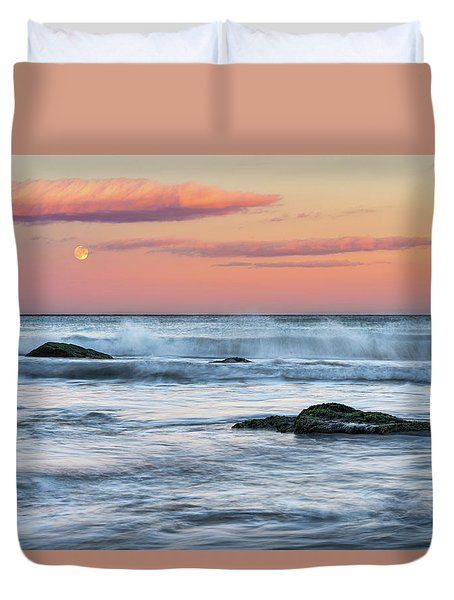 Super Moon And Sunset At Sozopol Town Beach Duvet Cover