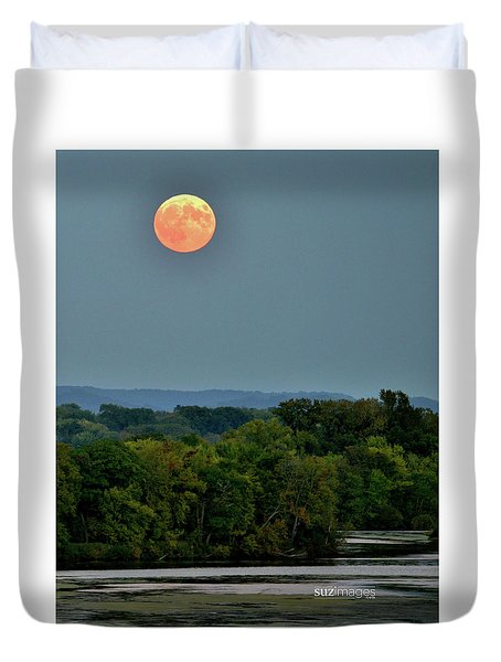 Supermoon On The Mississippi Duvet Cover