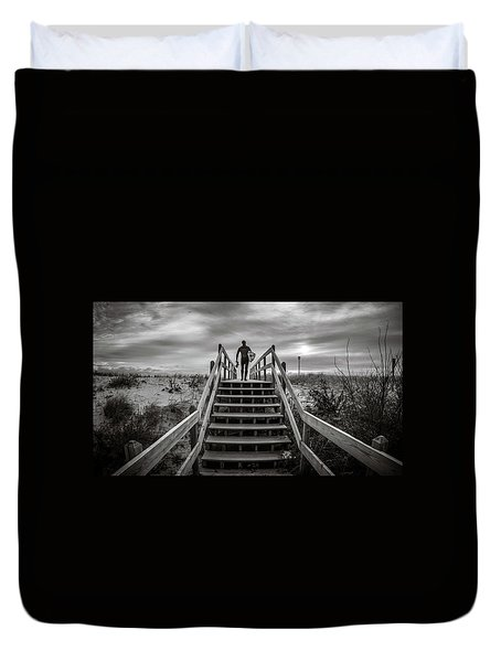 Duvet Cover featuring the photograph Surfer by Steve Stanger