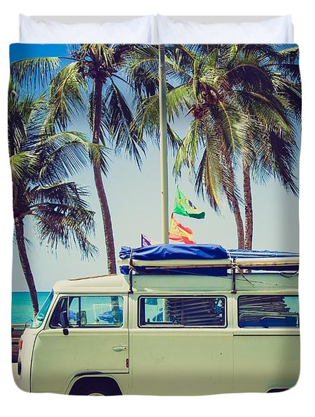 Duvet Cover featuring the photograph Surfer Van by Top Wallpapers
