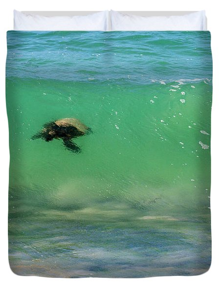 Surfing Turtle Duvet Cover