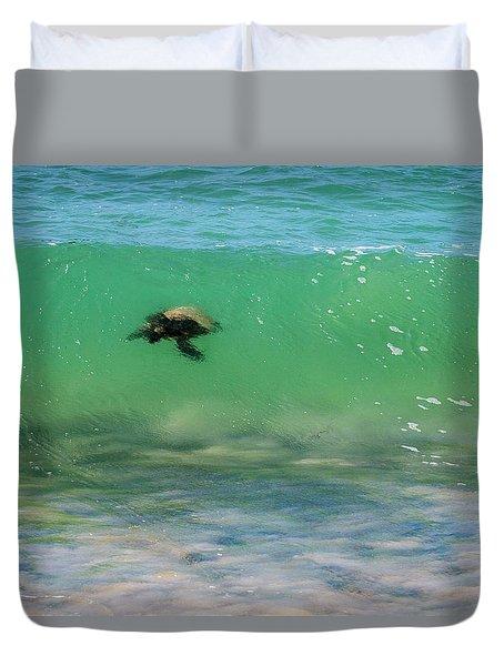 Surfing Turtle Duvet Cover