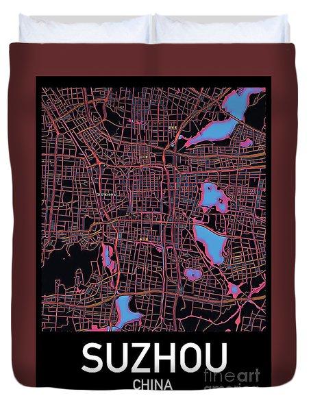 Suzhou City Map Duvet Cover