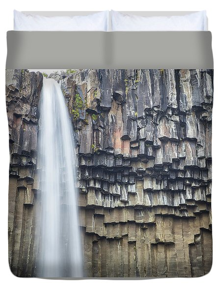 Duvet Cover featuring the photograph Svartifoss Portrait Iceland by Nathan Bush
