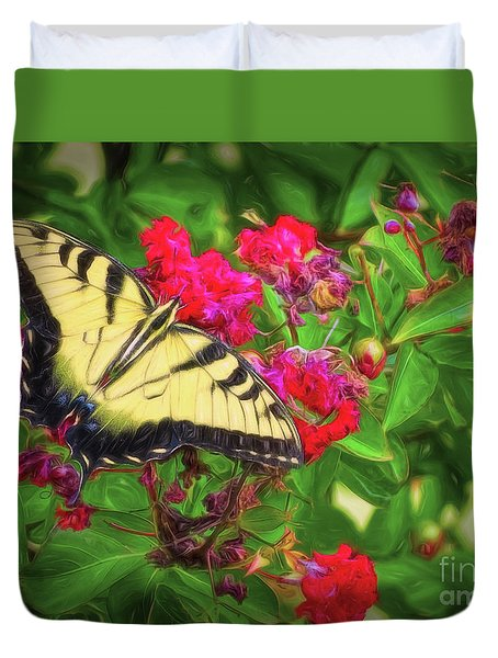 Swallowtail Among Flowers Duvet Cover