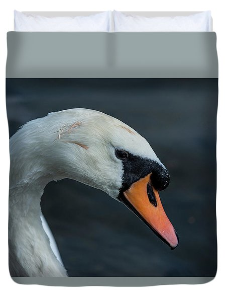 Duvet Cover featuring the photograph Swan Head Close Up On Blue Background by Scott Lyons