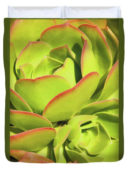 Duvet Cover featuring the photograph Sweet Succulents I by Leda Robertson