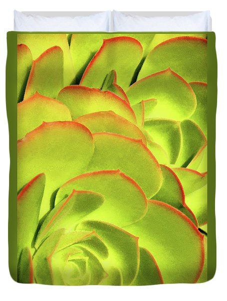 Duvet Cover featuring the photograph Sweet Succulents II by Leda Robertson