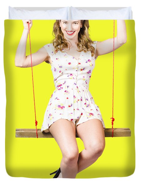 Swing Pinup Girl With Beauty Make-up And Hairstyle Duvet Cover