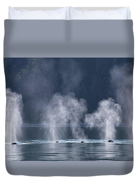 Duvet Cover featuring the photograph Synchronized Swimming Humpback Whales Alaska by Nathan Bush