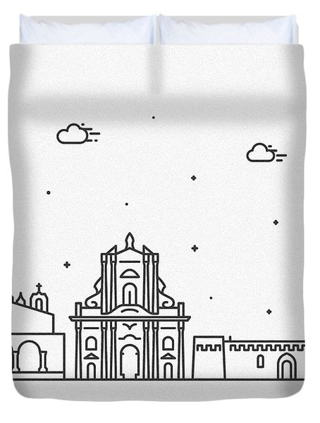 Syracuse, Sicily Cityscape Travel Poster Duvet Cover