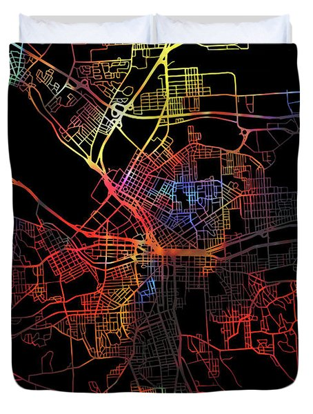 Syracuse New York Watercolor City Street Map Dark Mode Duvet Cover