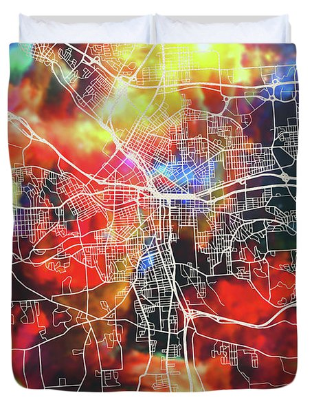 Syracuse New York Watercolor City Street Map Duvet Cover