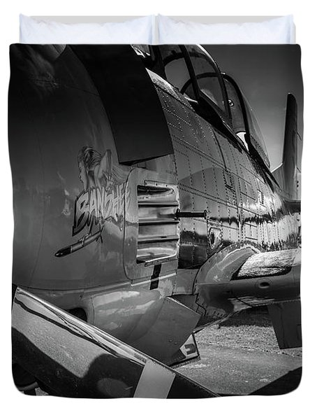 T-28b Trojan In Bw Duvet Cover
