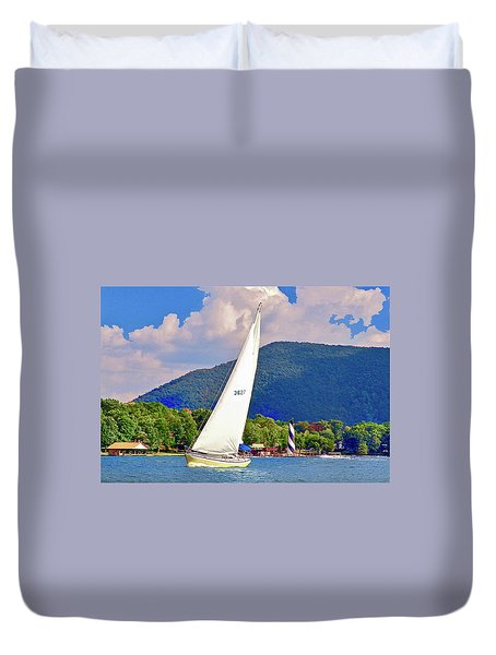 Tacking Lighthouse Sailor, Smith Mountain Lake Duvet Cover