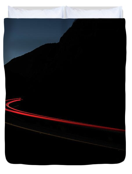 Tail Lights On A Mountain Road Duvet Cover
