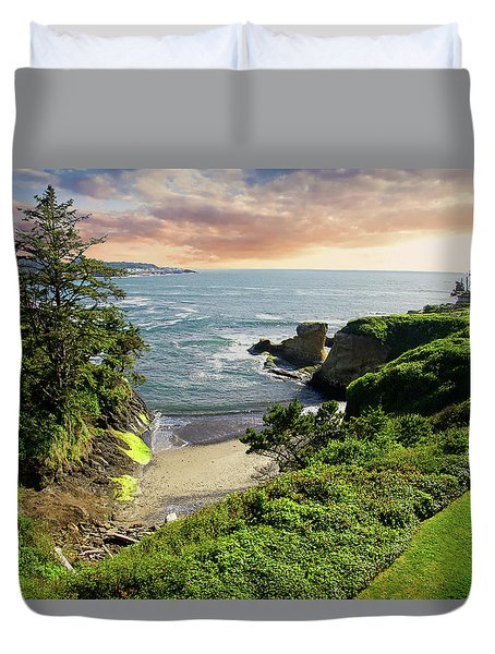 Tall Conifer Above Protected Small Cov Duvet Cover