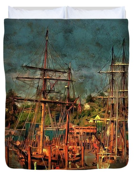 Duvet Cover featuring the photograph Tall Ships by Thom Zehrfeld