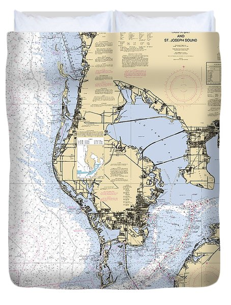Tampa Bay And St. Joseph Sound Noaa Chart 11412 Duvet Cover