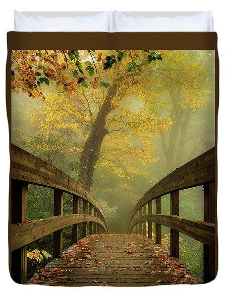 Tanawha Trail Blue Ridge Parkway - Foggy Autumn Duvet Cover