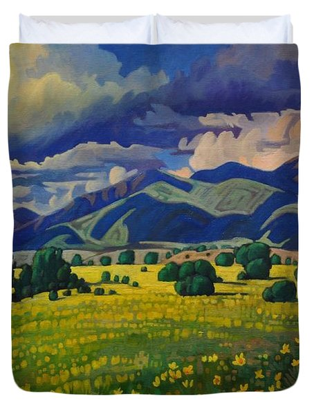 Taos Yellow Flowers Duvet Cover