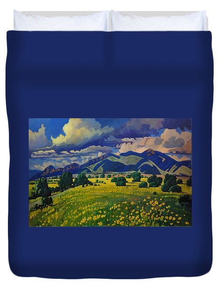 Taos Yellow Flowers Duvet Cover