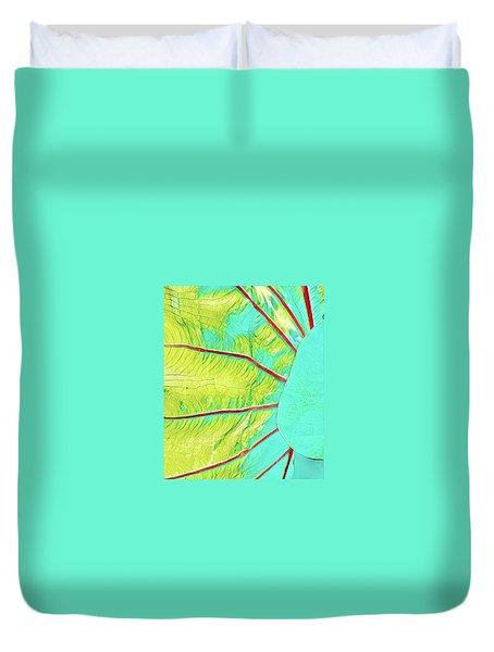 Taro Leaf In Turquoise  Duvet Cover