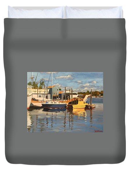 Tarpon Springs Harbour Duvet Cover
