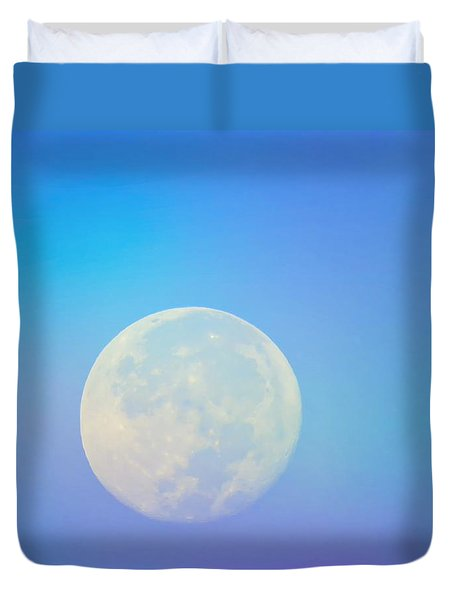 Duvet Cover featuring the photograph Taurus Almost Full Moon Blend by Judy Kennedy