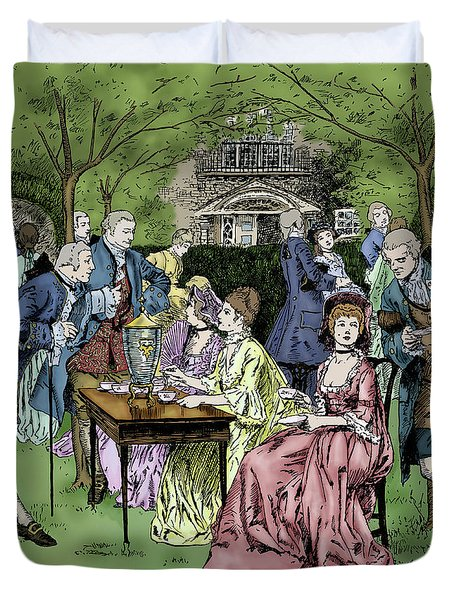 Tea Party In Colonial New England, 1700s By Howard Pyle Duvet Cover