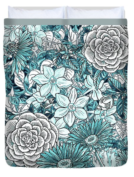 Teal Blue Watercolor Botanical Flowers Garden Pattern Flowerbed I Duvet Cover
