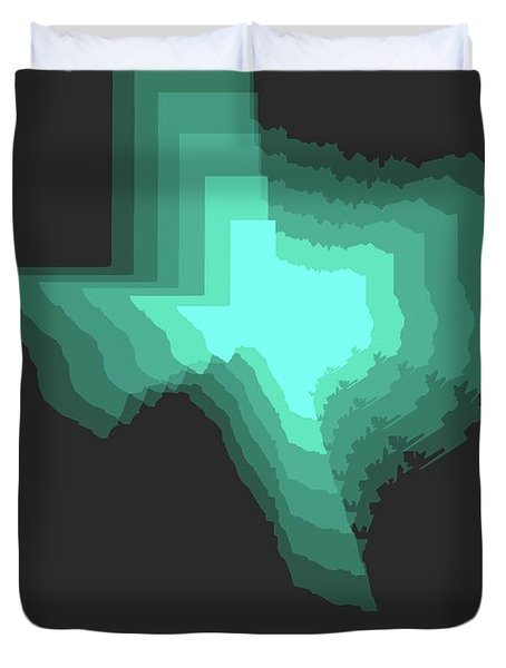 Teal Map Of Texas Duvet Cover