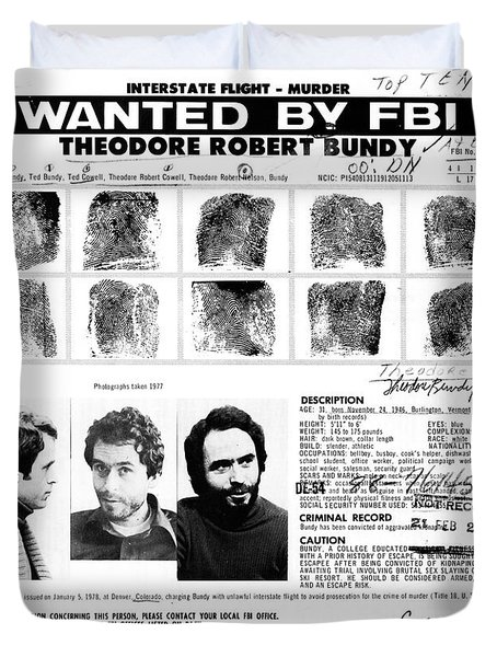 Ted Bundy - Wanted By The Fbi Duvet Cover