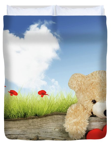 Teddy Bear With Heart Duvet Cover