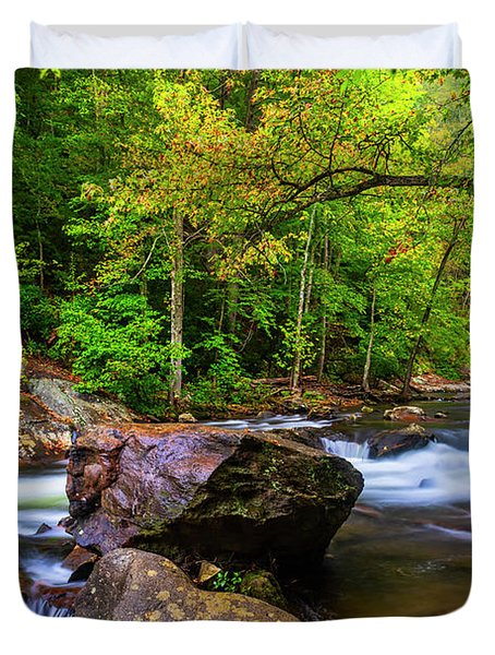 Duvet Cover featuring the photograph Tellico River Serenity by Andy Crawford