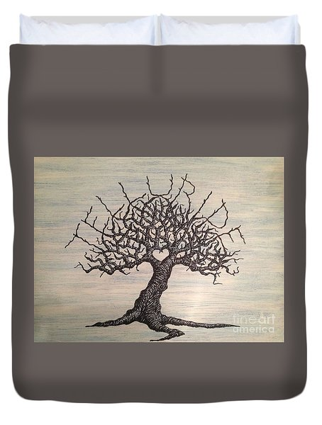 Duvet Cover featuring the drawing Telluride Love Tree by Aaron Bombalicki