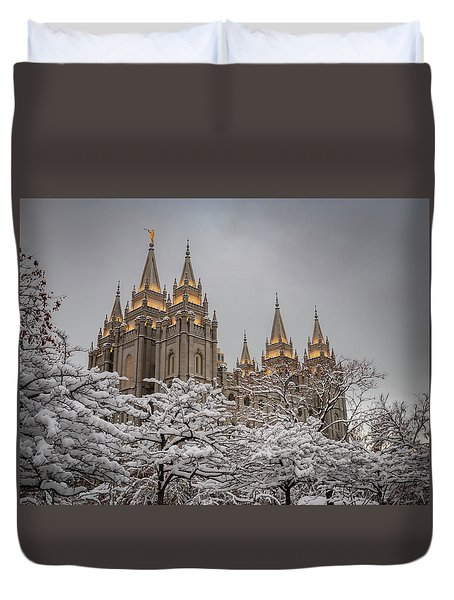 Temple In The Snow Duvet Cover