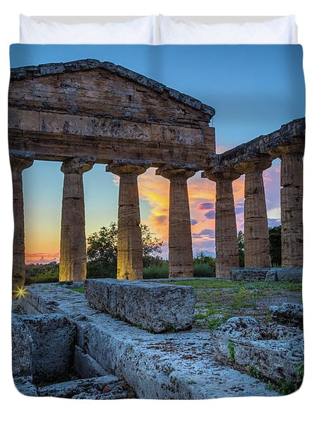 Temple Of Athena By Night Duvet Cover