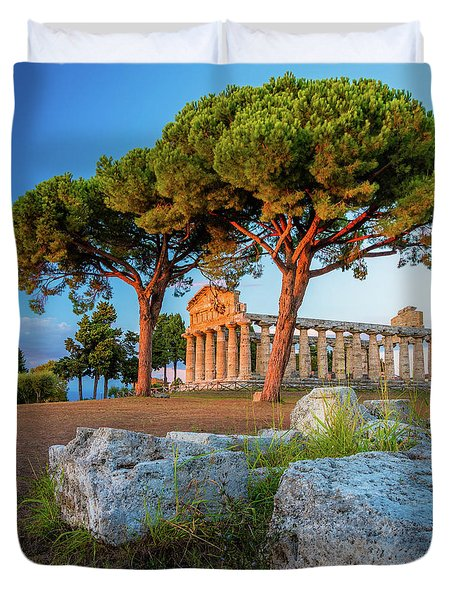 Temple Of Athena Columns Duvet Cover