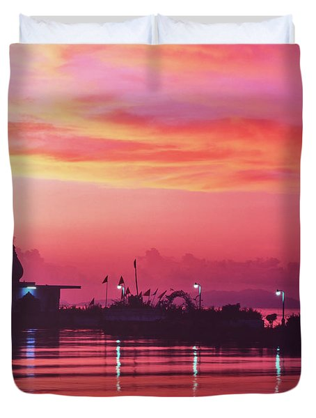 Temple On The Sea Duvet Cover