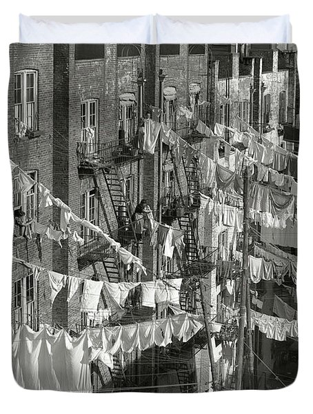 Tenement Laundry Day - New York City C. 1930 Duvet Cover