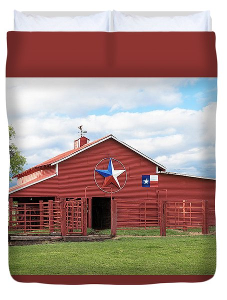 Duvet Cover featuring the photograph Texas Red Barn by Robert Bellomy