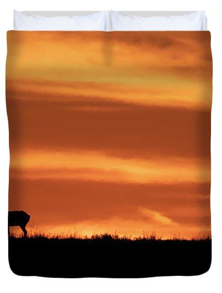 Texas Sunset And Buck Antelope Duvet Cover