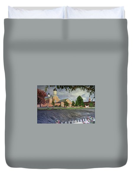 Thank Thee For The Church And The Temple  Vernal Utah Temple Duvet Cover