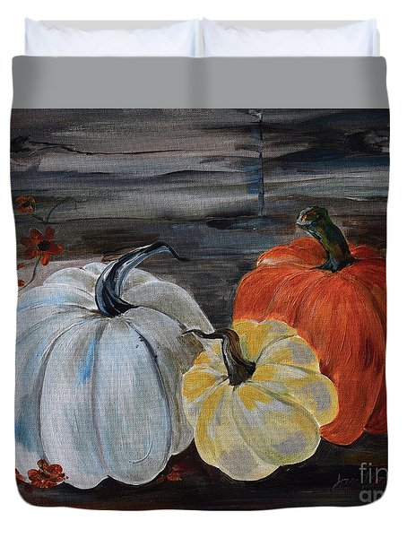 Duvet Cover featuring the painting Thankful For Harvest - Pumpkins by Jan Dappen