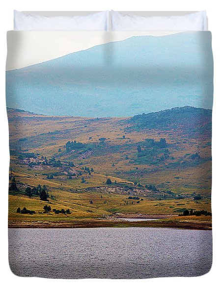 Duvet Cover featuring the photograph That Small Island by Milena Ilieva