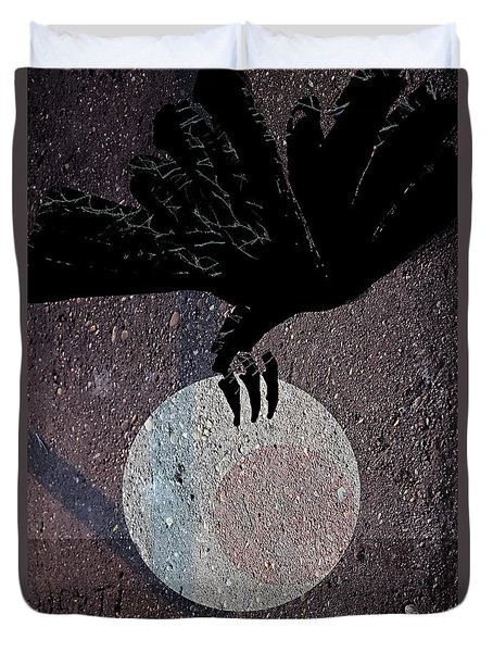 Duvet Cover featuring the digital art The Abduction Of The Moon by Attila Meszlenyi