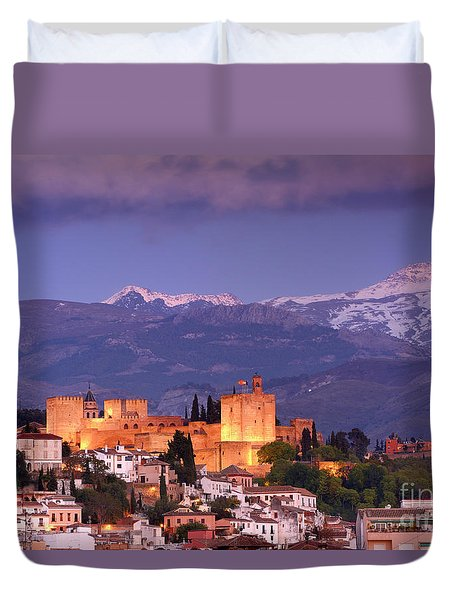 The Alhambra, Albaicin. Spring After The Snow Duvet Cover