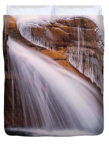The Basin, Close Up In A Winter Storm Duvet Cover