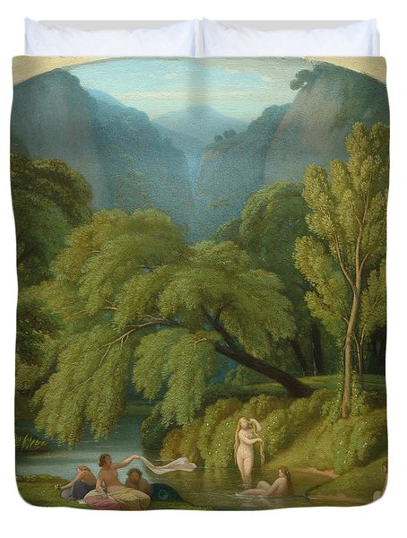 The Bathers, Souvenir Of The Banks Of The Anio River At Tivoli, 1861 Duvet Cover